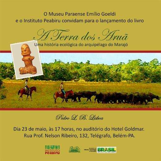 """Convite de lançamento do livro """"A Terra dos Aruã"""""""